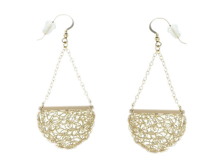 Gold semi-circle crochet drop earrings