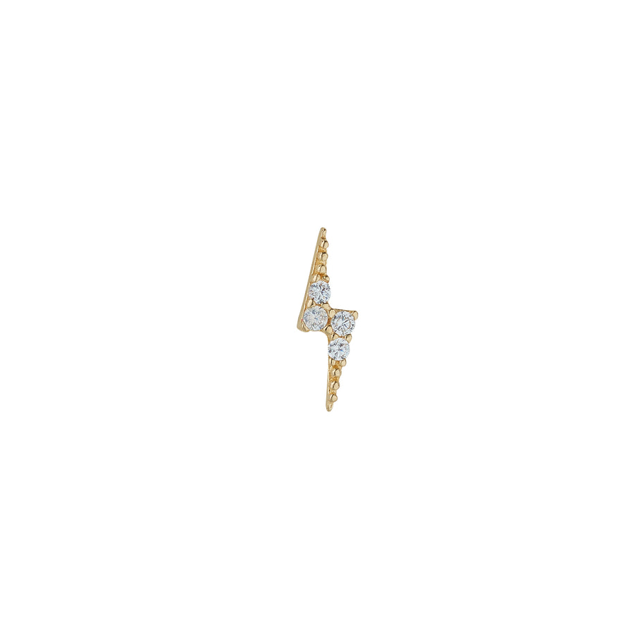 9ct Yellow Gold Cubic Lightening Bolt Piercing