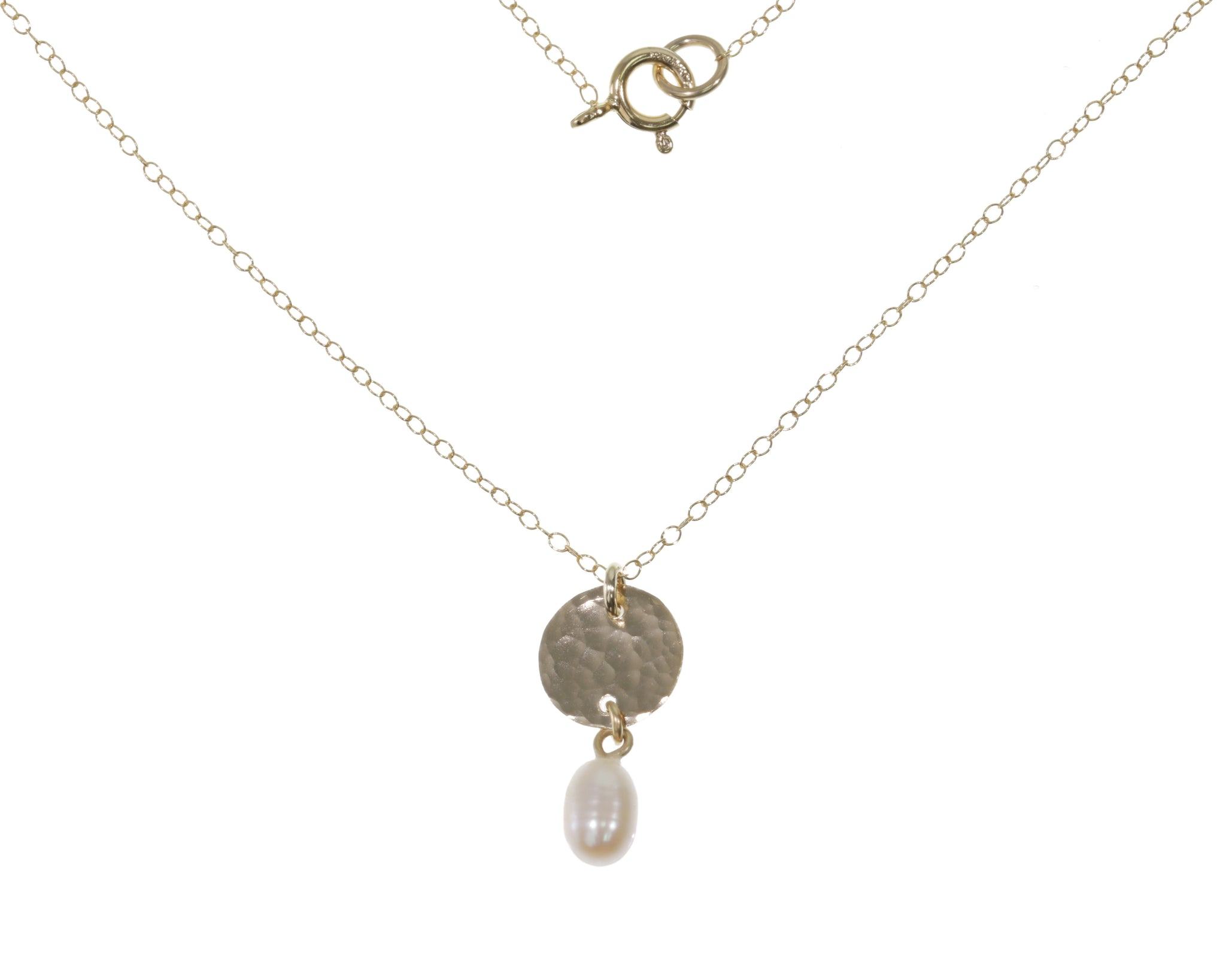 Yellow Gold Hammered Disc Pendant with Pearl