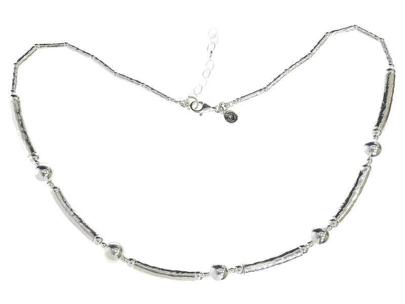 Silver Tube And Ball Necklace