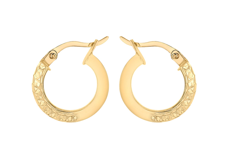 Yellow Gold Diamond Cut Creole Earrings