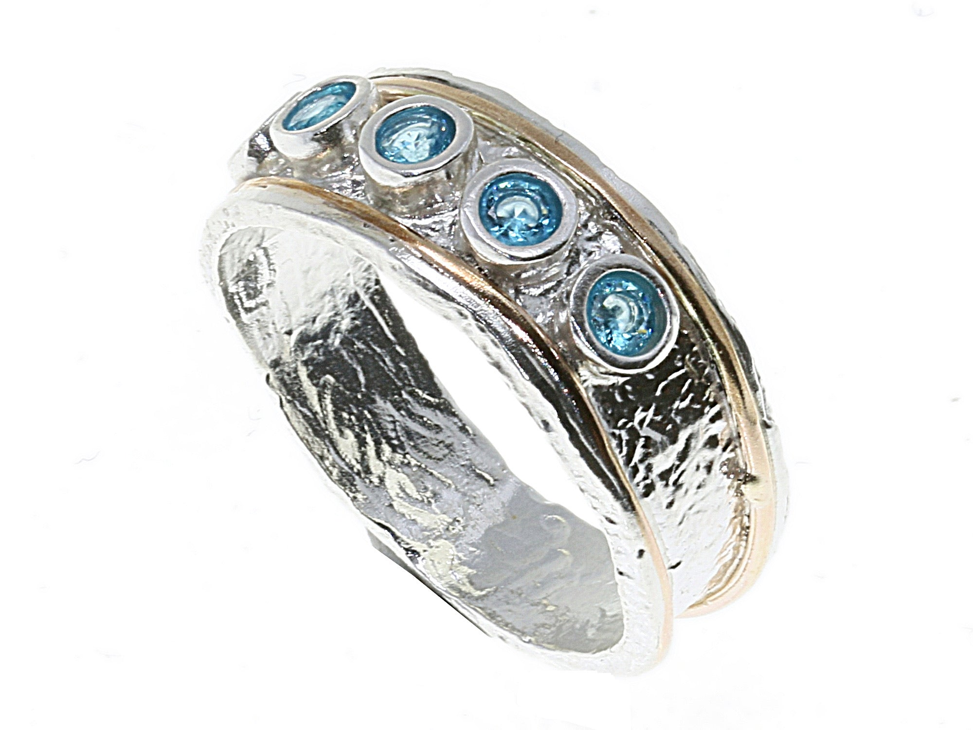 Solve ring with 5 sky blue stones