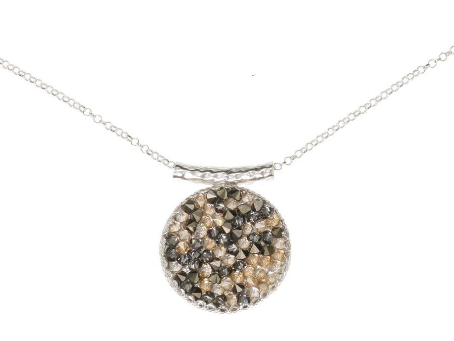 Grey and Gold Druzy Stoned Silver Pendant