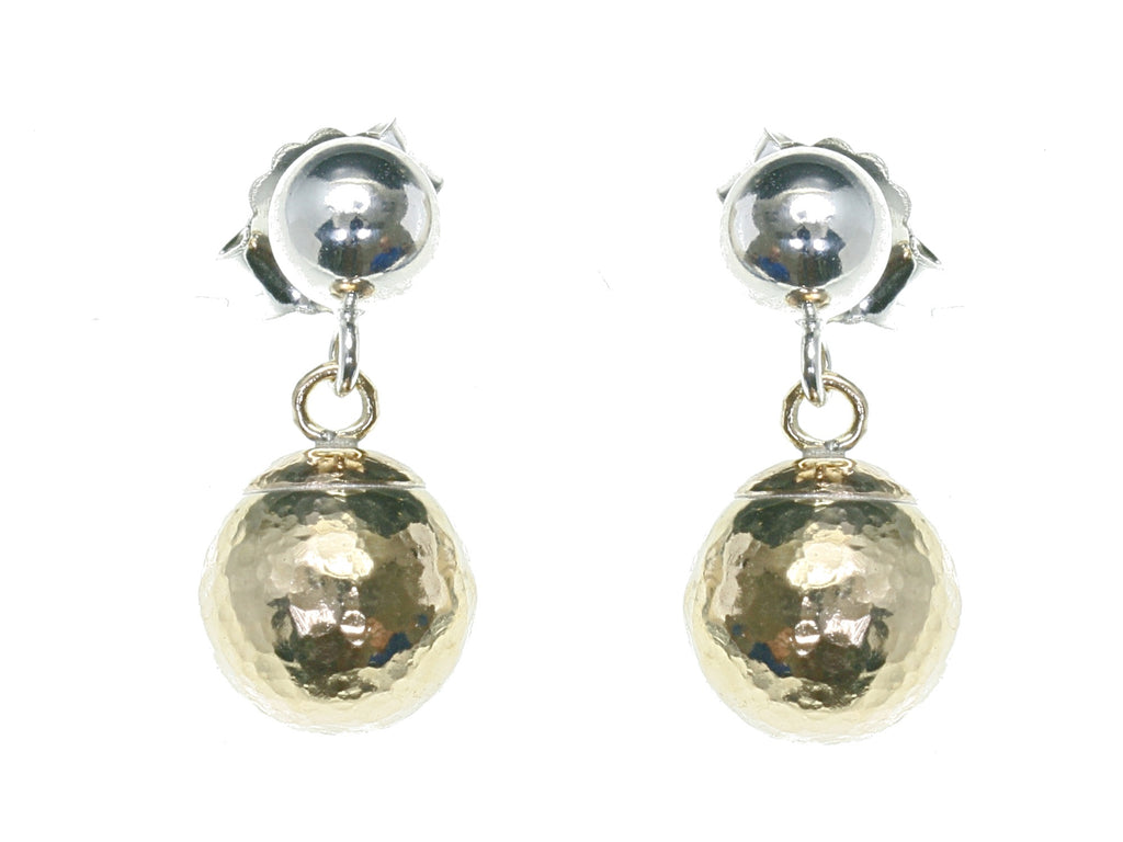 Gold and silver hammered ball drop earrings