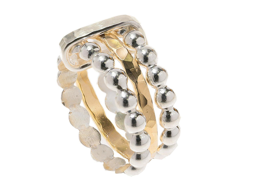 Triple Band Silver Bubble Ring