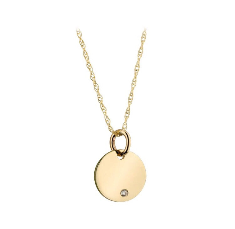 Solid Disc Necklace with CZ stone