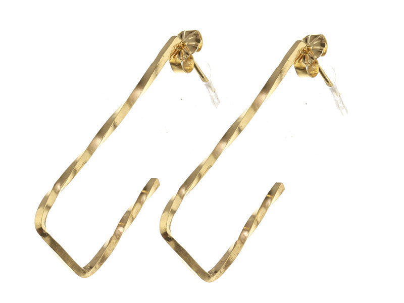 Gold Twisted Square Drop Hoop