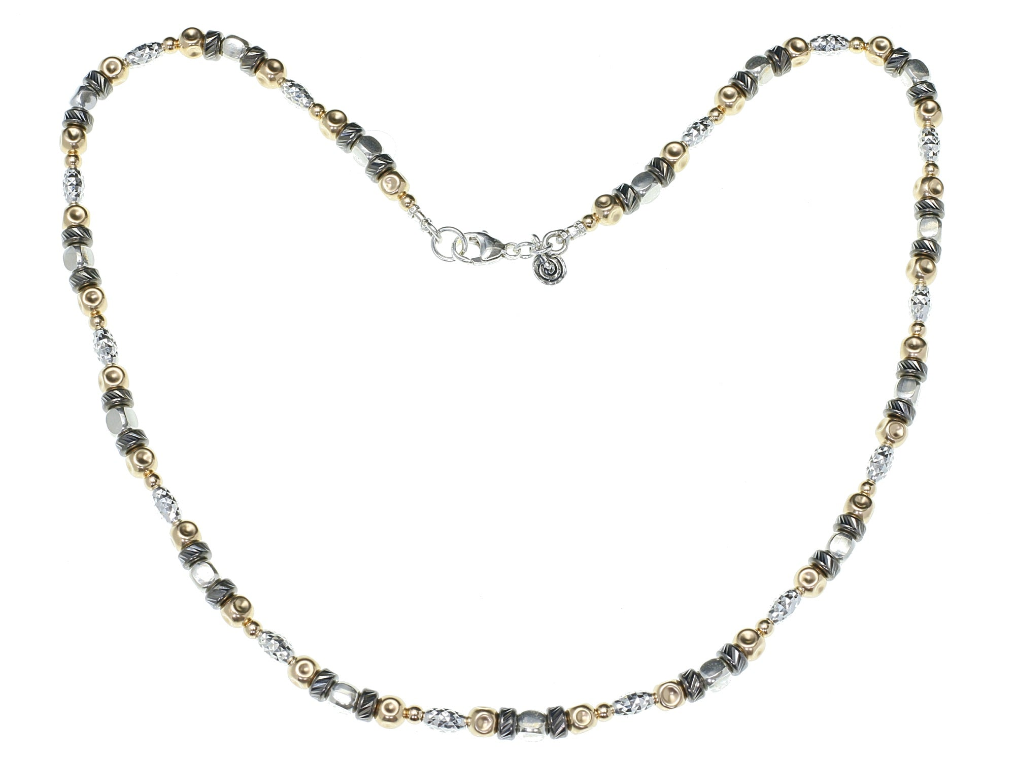 Oxidised Silver and Gold Sparkle Necklace