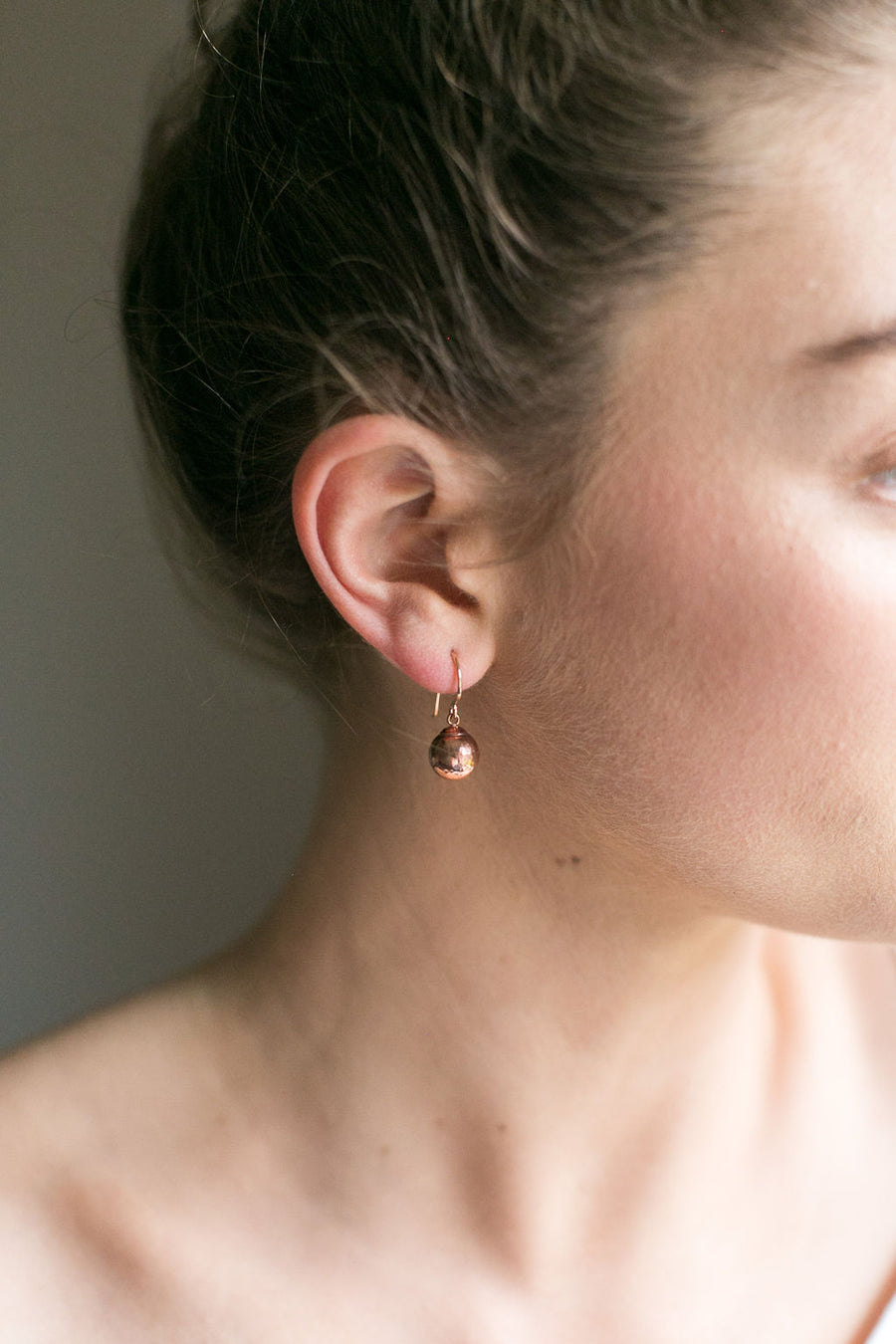 Gold Drop Ball Earrings