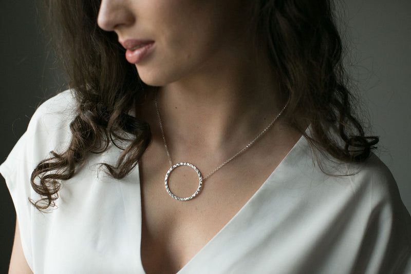 Large Silver Open Circle Necklace