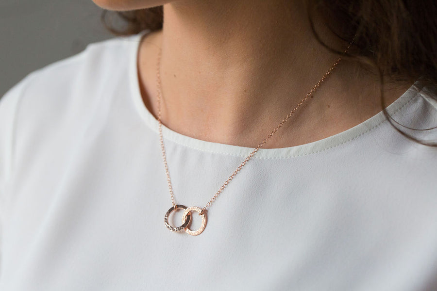 Gold Small Double Circle Necklace