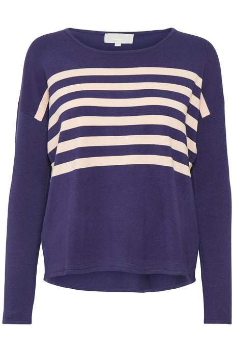 Striped sweater in blue & pale pink