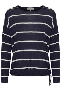 Navy blue & white striped pullover