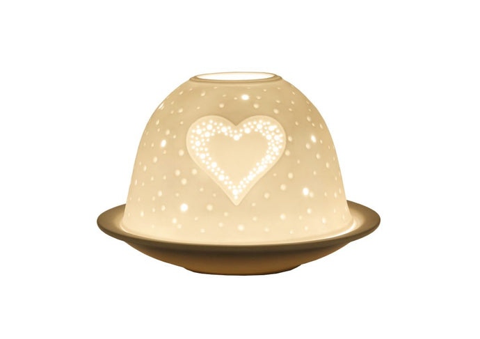 Heart tea-light porcelain dome