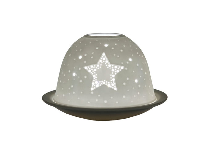Star tea-light porcelain dome