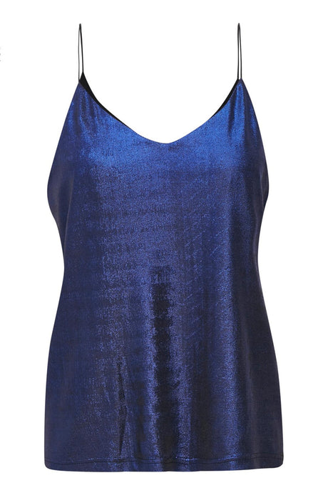 Strappy camisole in blue metallic