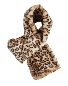 Animal print faux-fur neck scarf
