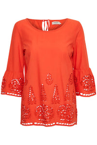 Orange top with fluted sleeves