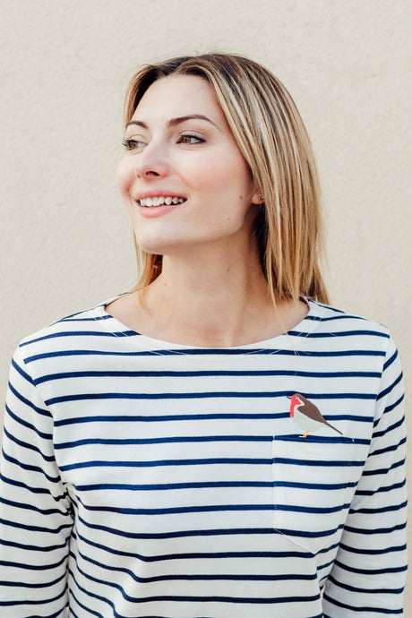 Striped Breton top with Robin