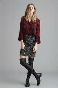 Red animal print blouse with frilled sleeves