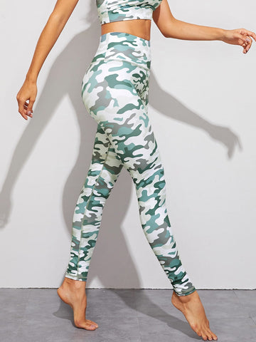 Camo Print High Waist Skinny Leggings | Amy's Cart Singapore