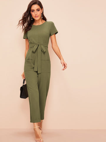 Pocket Front Zip Back Self Belted Jumpsuit | Amy's Cart Singapore
