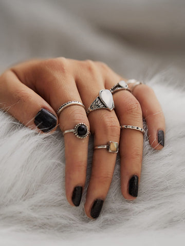 Geometric Design Ring Set 8pcs | Amy's Cart Singapore