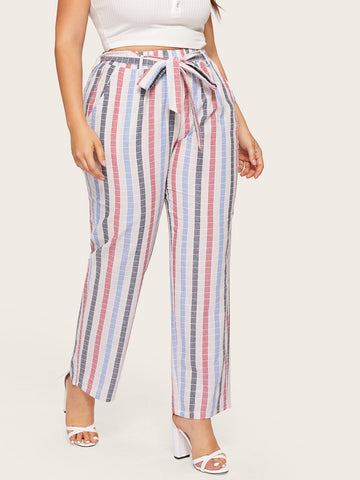 Plus Striped Self Tie Pants | Amy's Cart Singapore