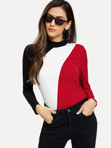 Mock Neck Color Block Slim Tee | Amy's Cart Singapore