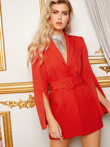 Split Sleeve Adjustable Belted Blazer Dress | Amy's Cart Singapore