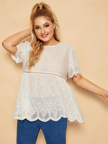 Plus Scallop Trim Cut Out Blouse | Amy's Cart Singapore