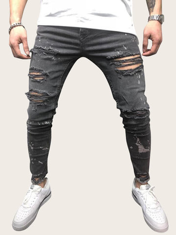Men Paint Splatter Pattern Ripped Skinny Jeans | Amy's Cart Singapore