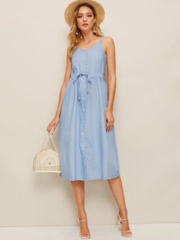 Button Front Drawstring Waist Denim Cami Dress | Amy's Cart Singapore