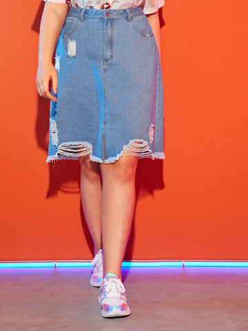 Plus Pocket Back Ripped Raw Hem Denim Skirt | Amy's Cart Singapore