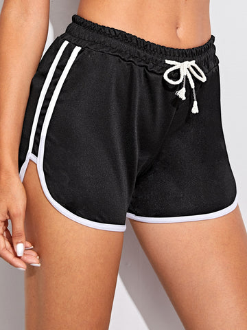 Contrast Trim Drawstring Waist Dolphin Shorts | Amy's Cart Singapore
