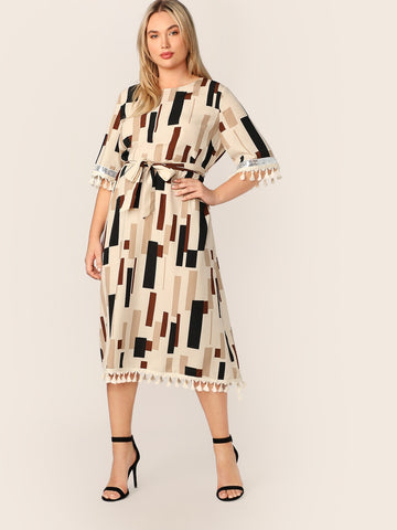 Plus Tassel Trim Sequin Detail Striped Dress | Amy's Cart Singapore