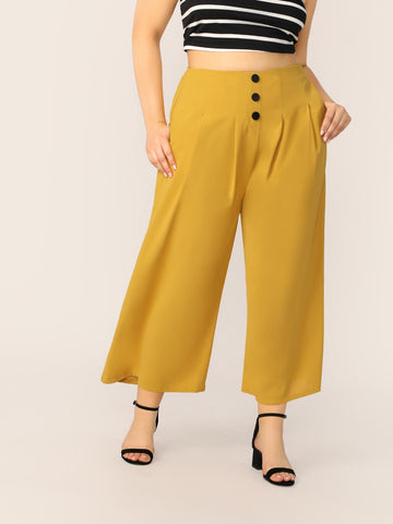 Plus Button Front Fold Pleated Wide Leg Pants | Amy's Cart Singapore