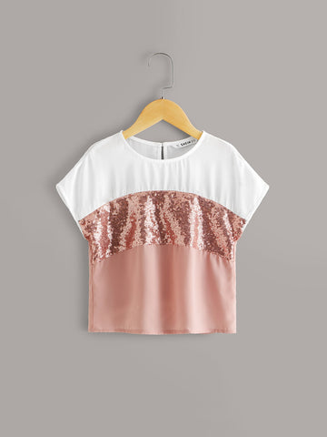Girls Contrast Sequin Cut-and-sew Blouse | Amy's Cart Singapore