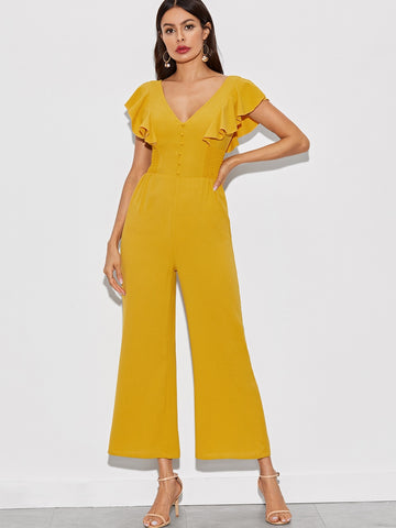 Solid Butterfly Sleeve Button Detail Shirred Jumpsuit | Amy's Cart Singapore