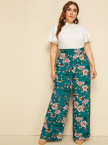 Plus High Waist Floral Print Wide Leg Pants | Amy's Cart Singapore