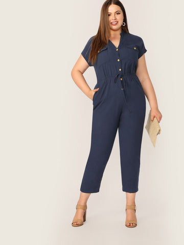 Plus Drawstring Waist Button Front Utility Overalls | Amy's Cart Singapore
