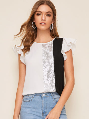 Ruffle Armhole Sequin Patched Colorblock Top | Amy's Cart Singapore