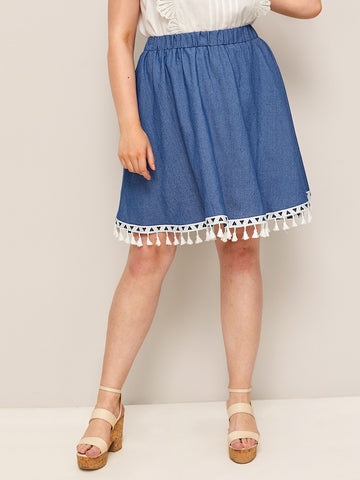Plus Fringe Hem Denim Skirt | Amy's Cart Singapore