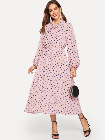 Tie Neck Lantern Sleeve Polka Dot Hijab Dress | Amy's Cart Singapore
