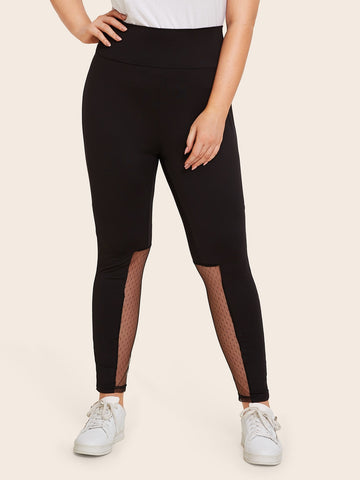 Plus Wide Waistband Mesh Insert Leggings | Amy's Cart Singapore