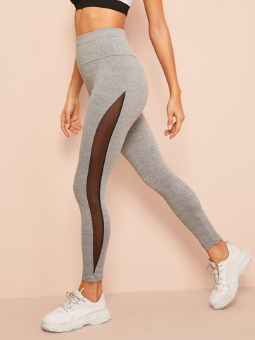 Contrast Mesh Side Seam Heather Knit Leggings | Amy's Cart Singapore