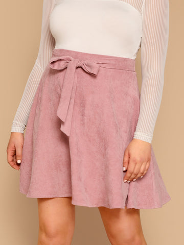 Plus Self Belted Flare Cord Skirt | Amy's Cart Singapore