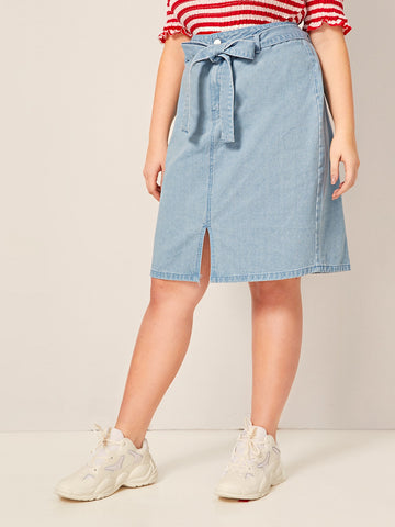 Plus Slit Hem Belted Straight Denim Skirt | Amy's Cart Singapore