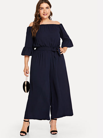 Plus Flounce Sleeve Belted Off The Shoulder Jumpsuit | Amy's Cart Singapore