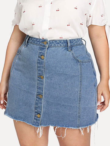 Plus Raw Hem Button Through Denim Skirt | Amy's Cart Singapore
